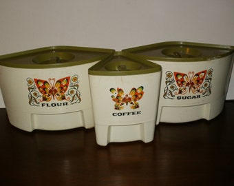 Set of Vintage1960s-70s Sugar Flour and Coffee Containers - Kitchen Accessories - Storage - Retro Look