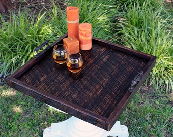 Large Ottoman Tray.  Large Serving Tray.  Reclaimed Wood Serving Tray.  Reclaimed Wood Ottoman Tray.  24 x 24.  Dark Brown Finish