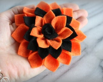 Halloween Felt Flower Brooch Pin or Hair Clip - Fall Accessories, Fall Flowers, Pins, Broach, Gift for her, by ktnunna