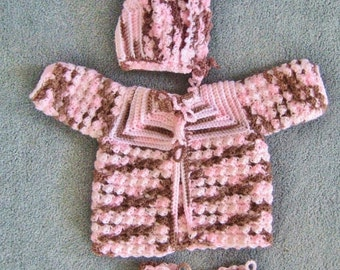 0 to 3 Month Sweater Set, Baby Shower Gift, Pink and Brown Sweater Set
