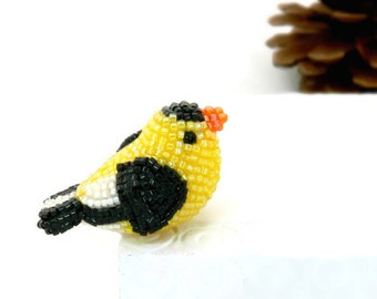 Goldfinch Bird Figurine Miniature Beaded Animal Totem *READY TO SHIP