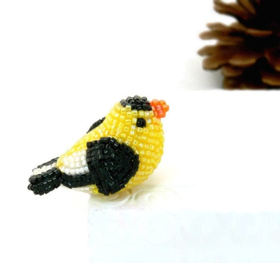 Goldfinch Bird Miniature Figurine Beaded Animal Totem *READY TO SHIP
