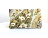 Floral Zippered Bag in Olive & Mustard / Beaded Pull - READY TO SHIP