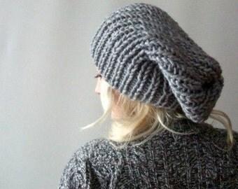 slouchy knit beanie . loose beanie hat . grey slouchy beanie . baggy beanie . chunky slouchy hat . chunky knit beanie . hand knitted beanies