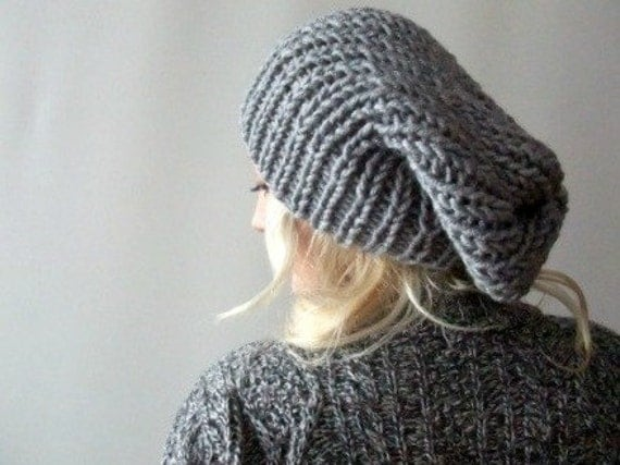 slouchy knit beanie . loose beanie hat . grey slouchy beanie . baggy beanie . chunky slouchy hat . chunky knit beanie . hand knitted beanies