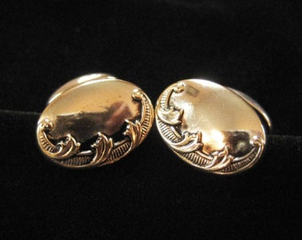 Victorian Silver Plated Repousse Cuff Links