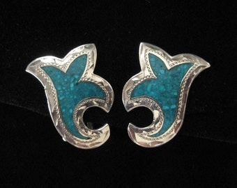 Sterling Silver Scroll Earrings, Stone Chip Inlay