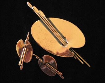 Renoir Solid Copper Painter's Palette Brooch and Earring Demi Parure
