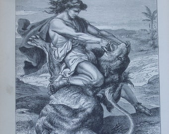 Antique The Bible Story in German, 250 Engravings and Lithograph Plates / Gustave Dore / 1888