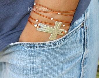 Custom SILVER Cross Boho Leather Wrap Bracelet - Sideways Hammered Tetured Cross Triple Gypsy Wrap Beaded Bracelet Pick COLOR / SIZE Usa 128