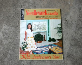 Vintage Magazine McCalls Needlework and Crafts 50th Anniversary Spring Summer 1969 Sewing Embroidery Knit Crochet Decorating