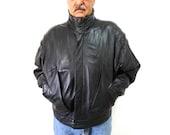 Black Leather Jacket Pelle Studio Bomber Biker Warm Mens X Large