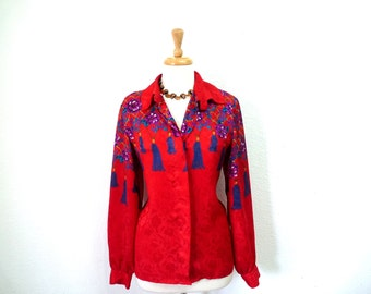 Vintage Silky Blouse Hermes Exclusive Shirt Red Flower Tassel print Women Size M
