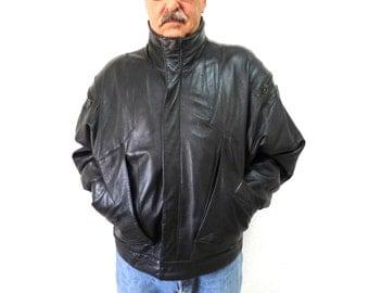 Vintage Black Leather Jacket Motorcycle Mens Warm Leather coat X Large