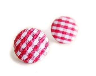 Clip On Earrings / Stud Earrings / Fabric Button Earrings - classic red gingham earrings