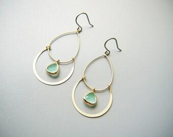 Matte Gold Chandelier Mint Green Glass Titanium Earrings Modern Elegant Dangle Earrings Hypoallergenic