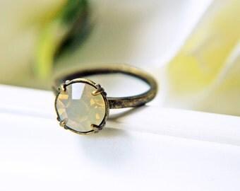 Beige Sand Opal Swarovski Crystal Ring Antique Brass Opalescent Adjustable