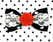 Vintage Rose Skull and Dots Hair Bow - Black - Rockabilly - Retro - 50s