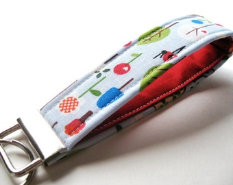 Key Fob, Wristlet Key Chain - Trees and Birds in Blue - READY TO SHIP