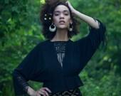 Crochet Fringe Black Crop Top Boho Chic XS S M L XL