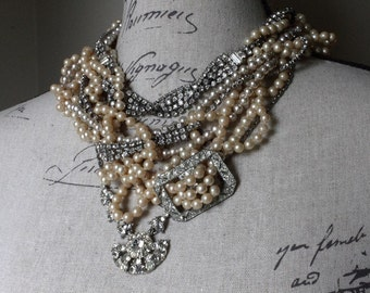 Multi-Strand Vintage Assemblage Necklace w/ Loads of Pearls - Rhinestone Chains - Wedding/Event Statement - MADE TO ORDER by Boutique Bijou