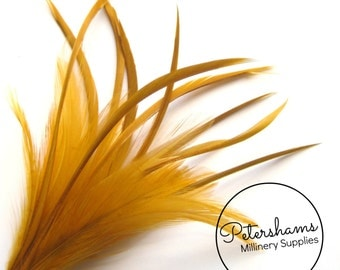 Goose Biot & Hackle Feather Hat Mount Trim for Fascinators, Wedding Bouquets and Hat Making Gold