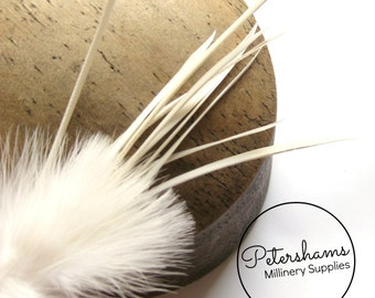 Ivory Marabou & Goose Biot Feather Fascinator Hat Mount Trim for Millinery