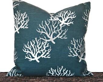 Sea Coral Pillow Cover Cushion Navy Blue White Gray Coastal Decorative 18x18