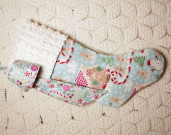 Adorable Blue Christmas Treats Stocking with Vintage Chenille Cuff