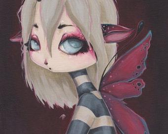 Lowbrow gothic pixie fairy fantasy lowbrow fine art print - Merlot Sprite