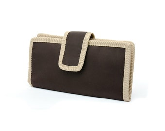 Two fold Wallet. Water resistant. Brown softshell like fabric. 6 card slots, 2 wide slots, 2 zipper pockets.