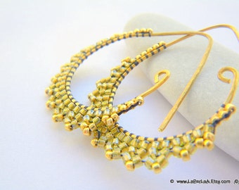 ETRUSCAN LACE Fake Gold Earrings - (Fool's gold) - beaded beads lace on handmade oxidised drop shaped brass hoops earrings
