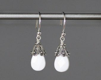 Onyx Earrings - White Gemstone Earrings - Wire Wrapped Earrings Silver - White Onyx - Silver Dangles - Bridal Jewelry - Onyx Jewelry - Gift