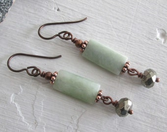 Pyrite & Serpentine Earrings - Antiqued Copper - Chakra/Bohemian Style Jewelry