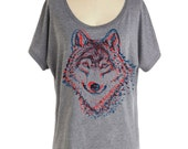 Womens WOLF T SHIRT - Dolman sleeve slouchy off the shoulder shirt (Many color choices) sm, med, lg, xl, xxl skip n whistle