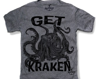 OCTOPUS GET KRAKEN -- Kids T shirt -- (7 color choices) Size 2t, 3t, 4t, youth xs, yth sm, yth med, yth lg skip n whistle