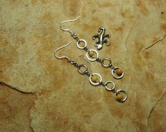 Natural Yellow Jasper Silver Chain Link Earrings