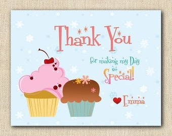 Snowflakes and Cupcakes Thank You Cards - 12 folded cards