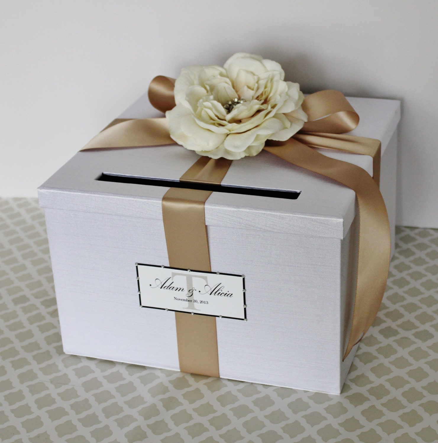 Wedding Card Box White Champagne Gold Money Holder