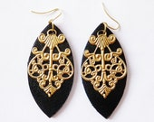 leather and brass filigree earrings by odi jewellery