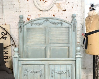 Painted Cottage Shabby Aqua Chic Twin Bed