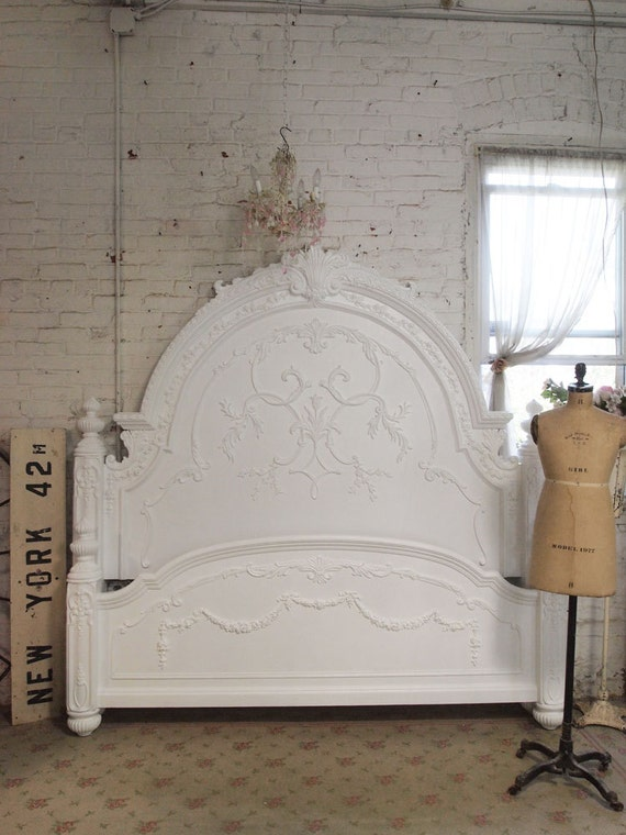 Painted Cottage Chic Shabby Romantic Bed King or Queen size