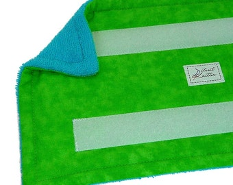 1+ Reusable Swiffer Wet Jet Pads, LIME TONAL, DetroitKnitter, shown w Scuba Terry, Washable EcoGreen Pads, EcoSwift, EcoFriendly, Guaranteed