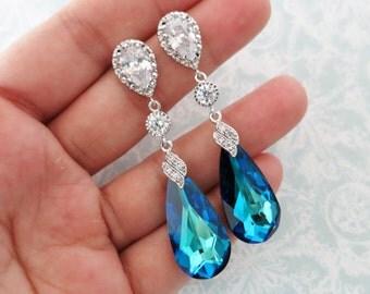 Wasima - Bermuda Blue Faceted Teardrop Crystal Earrings, Bridal Earrings, Bridesmaid Jewelry, Weddings