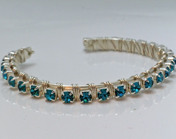 Blue Crystal and Sterling Wire Wrapped Bracelet