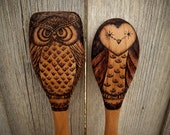Wood burned Owl spoons (set of 2)