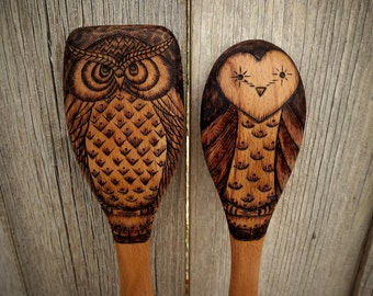 Owl wooden spoons, wood burned (set of 2)