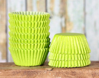 MINI Lime Cupcake Liners, Mini Lime Green Baking Cups, Mini Cupcake Liners, Mini Baking Cups, Mini Cupcake Wrappers, Christmas Candy Cups