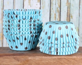 Light Blue Cupcake Liners with Brown Polka Dots, Robin's Egg Blue Cupcake Liners, Baby Shower Liners, Blue Cupcake Wrappers, Baby Boy (50)