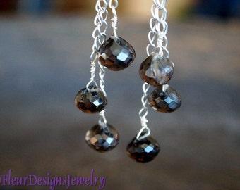 Smoky Quartz Dangle Earrings, Brown Stone Earrings, Smoky Quartz Earrings